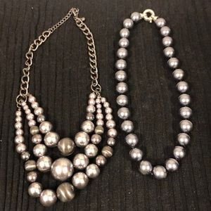 Jewelry - Two pewter pearl necklaces